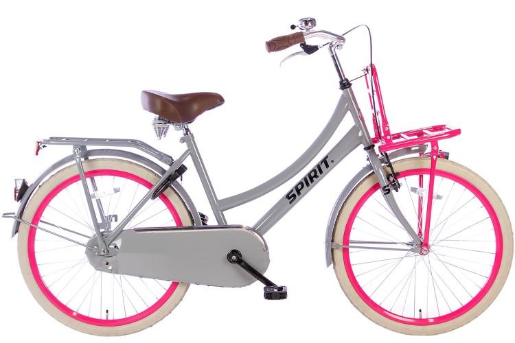 Spirit Cargo Meisjesfiets Grijs-Roze 24 inch