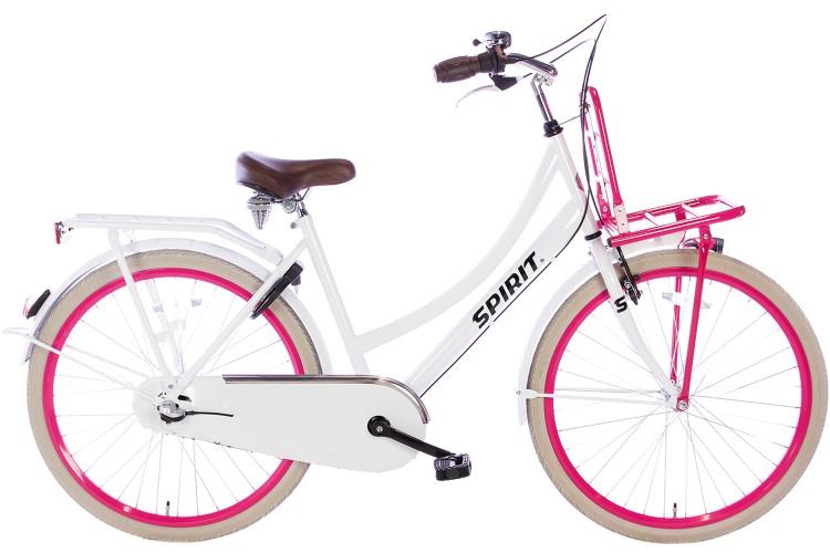Spirit Cargo N3 Meisjesfiets Wit-Roze 26 inch