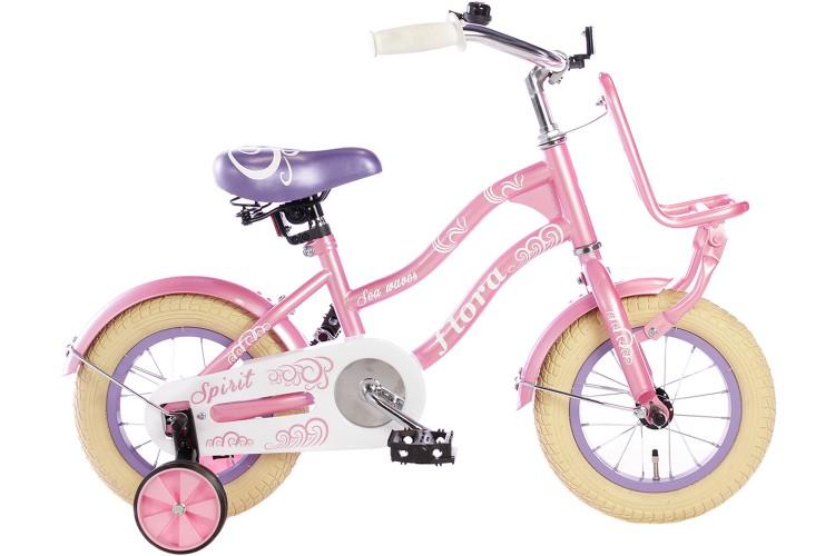 Spirit Flora Meisjesfiets Roze-Paars 12 inch
