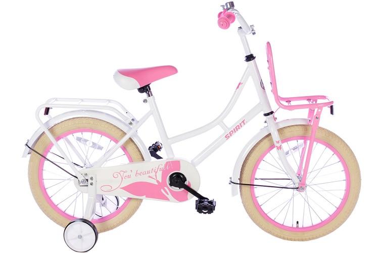 Spirit Meisjesfiets Wit-Roze 18 inch