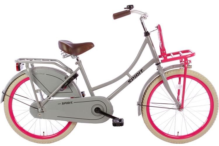 Spirit Omafiets Grijs-Roze Meisjesfiets 22 inch